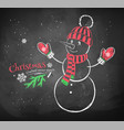Cute snowman wearing knittted hat vector image