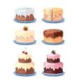 Cream cake tasty cakes set in cartoon style vector image