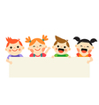 Four kids holding blank banner on white background vector image