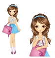 Girl With Shopping Pink Bag vector image
