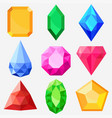 Jewels set gems and diamonds vector image