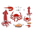 Red rab shrimp salmon steak and squid vector image vector image