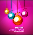 Glossy Christmas baubles greeting card template vector image