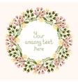 Greeting card design with a floral wreath vector image