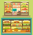 grocery store supermarket shelves vector image