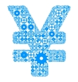 Japanese yen sign made of gears vector image