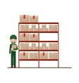 red shelves with sealed package and dispatcher vector image