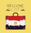 suitcase with the flag of egypt and planes vector image vector image
