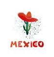 mexico watercolor cactus in a sombrero cute vector image