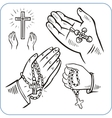 Hands and crosses - vector image vector image