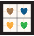 coloured heart set vector image vector image