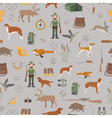 Hunting seamless pattern Dog hunting equipment vector image