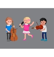 Happy kid playing on contrabass singing dancing vector image
