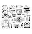 Monochrome hipster modern line logo set vector image