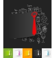 tie paper sticker with hand drawn elements vector image