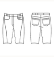 Unisex outlined template skinny shorts vector image