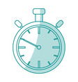 blue silhouette shading stopwatch graphic vector image