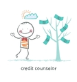 credit counselor near the money tree vector image vector image