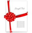 Greeting card with a red ribbon vector image