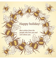 Sketch bumble bee in vintage style vector image