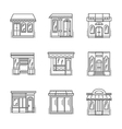 Store and shops line icons set vector image