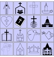 icons on the topic of the Bible and Christianity vector image