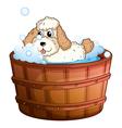 A brown bathtub with a dog taking a bath vector image