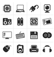 Black Computer Items and Accessories icons vector image