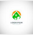ecology green house logo vector image