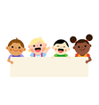 Four multiethnic kids holding blank banner vector image
