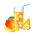 glass of fresh juice with ice cubes mango and vector image