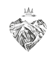 Hand drawn in Boho style Love to the mountains vector image