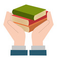 hands with books icon vector image