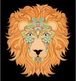 head of lion on black background vector image