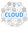 Line flat circle cloud vector image