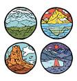 mountain landscape icon set vector image