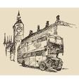 Street London England Bus Big Ben Vintage Sketch vector image