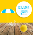 Summer holiday background with wood terrace vector image