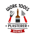 Plasterer repairs home work tools icon vector image vector image