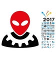 Alien Engineer Icon with 2017 Year Bonus vector image