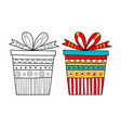 Black and white gift box for coloring book vector image