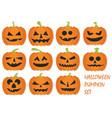 halloween pumpkins set vector image