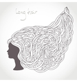 Girl Face Silhouette Beautiful Intricate Long vector image
