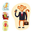 monkey cartoon suit person costume character vector image