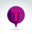 Speech bubble with a purple gift box sign present vector image