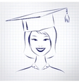 Student girl wearing graduation hat vector image