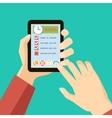 time management concept - hands holding tablet vector image