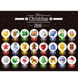 Merry Christmas icon set with Xmas icons advent vector image