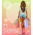 Young woman with shopping bags background with vector image
