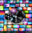 Club Flyer with 65 low poly backgrounds included vector image vector image